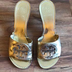 Tory Burch gold sandals